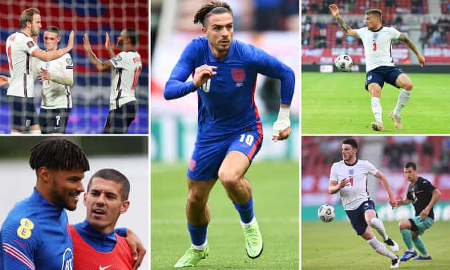 Clockwise from top left; Harry Kane, Phil Foden and Raheem Sterling, Jack Grealish; Kieran Trippier; Declan Rice; and Tyrone Mings with Conor Coady.