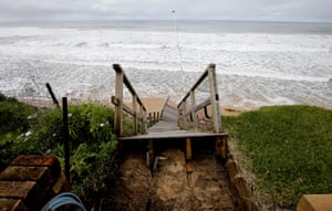 A set of fallen stairs is seen at the property of Veronica Allison at Ocean View Dr, Wamberal.