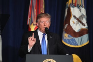 Trump delivering his speech on the US strategy In Afghanistan.
