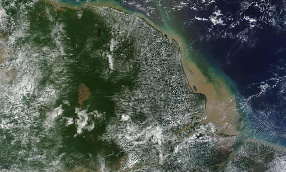 Satellite view of the mouth of Amazon river and Brazil coast