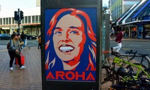 Poster of Jacinda Ardern in the city of Wellington