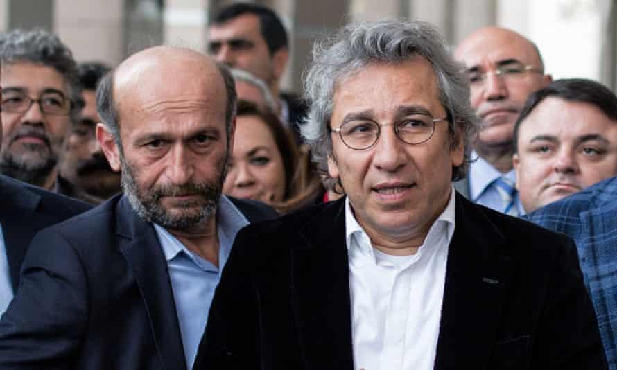 Erdem Gül and Can Dündar speak to the media outside court in Istanbul, Turkey.