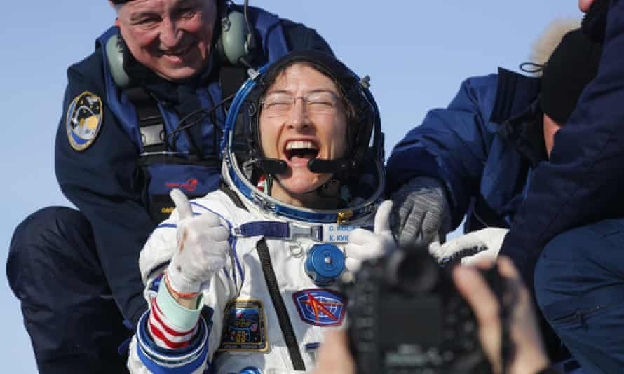 Christina Koch shortly after returning from space