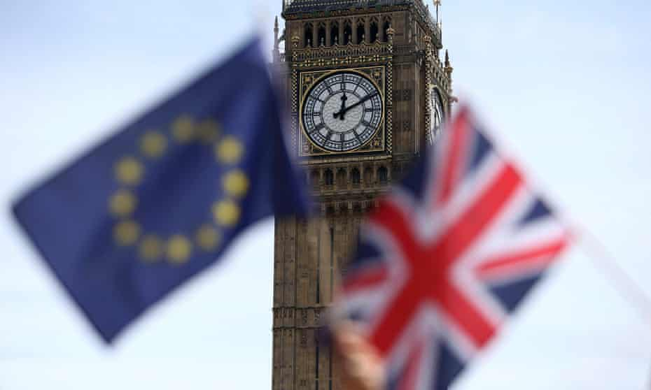 A British Union flag and an EU flag in front of Big Ben