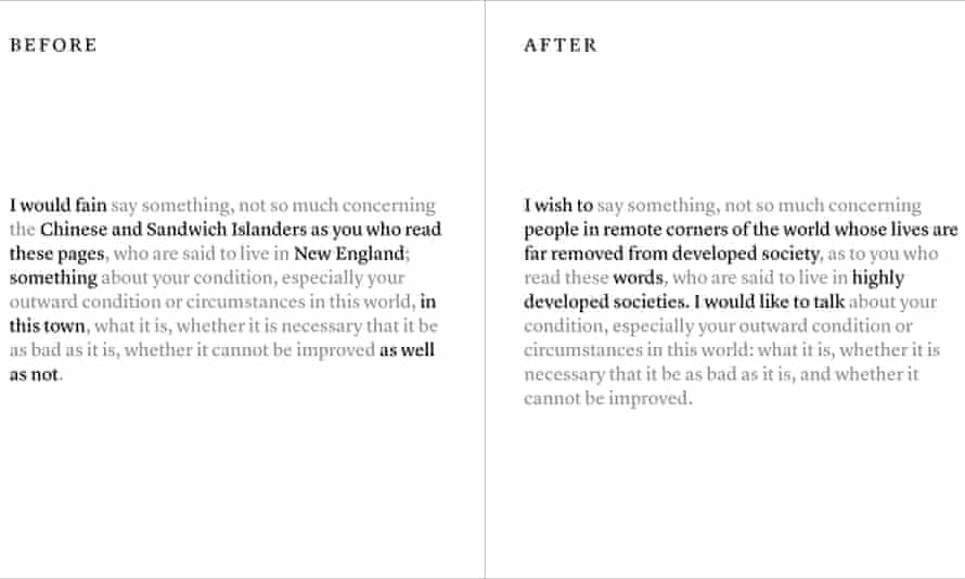 A pond for the 21st century ... a comparison of the language of the original and the new versions of Walden.