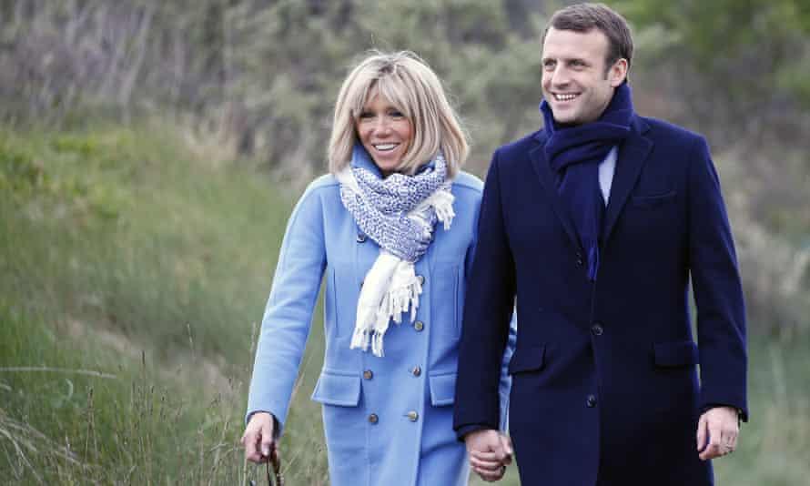 Emmanuel Macron with his wife Brigitte Trogneux, whom he met when she was his teacher.