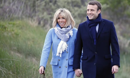 Emmanuel Macron with his wife Brigitte Trogneux, whom he met when she was his teacher.