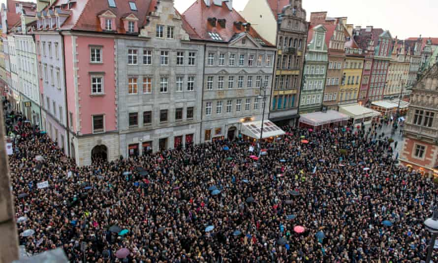 Protesters gather at the Wroclaw's Square during the nationwide 'Black Monday' protests.