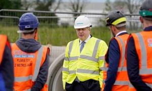 Britain's Prime Minister Boris Johnson visiting the Siemens rail factory construction site.