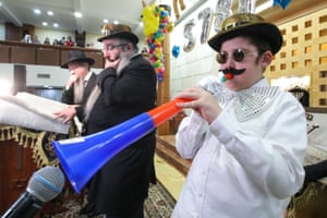 A boy wears fancy dress at a Jewish community centre in Moscow