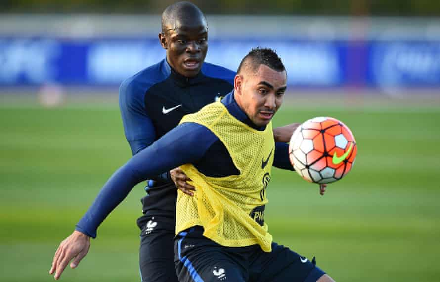 Dimitri Payet and N'Golo Kanté during France training.