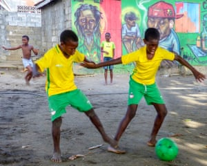 Boys playing football, St Vincent & the Grenadines