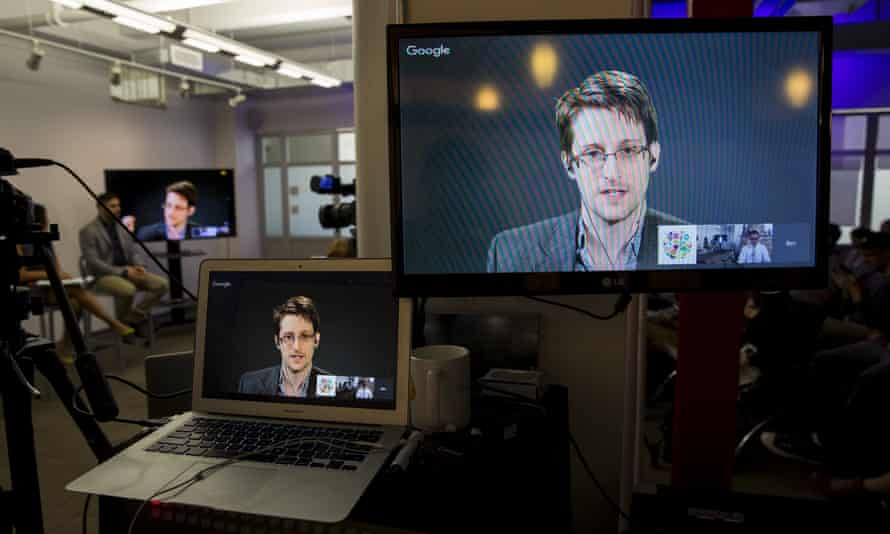 Edward Snowden speaks via video link