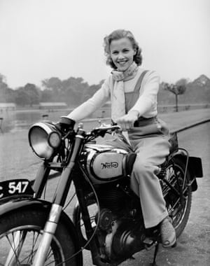 Honor Blackman on her Norton Big Four motorcycle in 1949