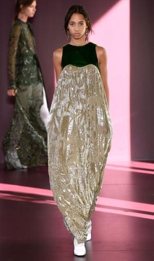 A model in dvoree velvet at Valentino.
