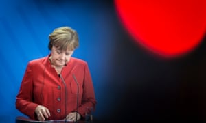 Angela Merkel during a press conference on Friday