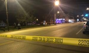 Image from 41 KSHB Kansas City Action News police at the scene of a shooting outside a Kansas City, Kansas bar on Sunday.