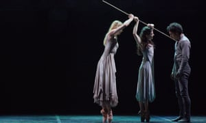 Stina Quagebeur, Alina Cojocaru and Isaac Hernández in Akram Khan's Giselle.