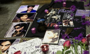 Tributes to Prince outside the Apollo Theater in New York.
