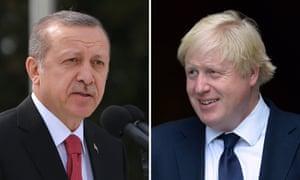 Recep Tayyip Erdoğan (left) and Boris Johnson