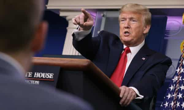 Donald Trump at a coronavirus task force briefing at the White House on April 08, 2020 in Washington, DC.