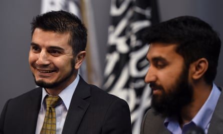 Hizb ut-Tahrir Australia's spokesman Wassim Doure Ihi (left) and Uthman Badar prepare to read a statement at a press conference in Sydney on Thursday, Feb. 19, 2015. Hizb ut-Tahrir held the press conference to respond to Prime Minister Tony Abbott's anti-terror legislation. (AAP Image/Paul Miller) NO ARCHIVING
