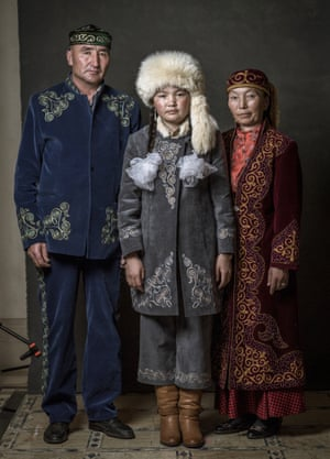 Nurgaiv Rys, Aisholpan Nurgaiv and Almagul Kuksygyen pose during a portrait session on day four of the 13th annual Dubai international film festival, held at the Madinat Jumeriah complex