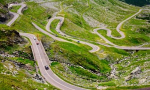 The Transfagarasan road in Romania, crossing the mountains.