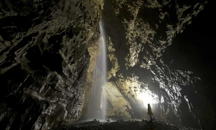The main chamber of Gaping Gill in North Yorkshire.
