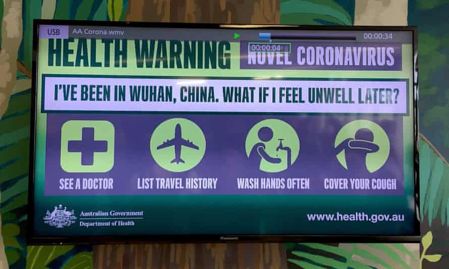 A sign in the airport arrival hall on Christmas Island, Australia.