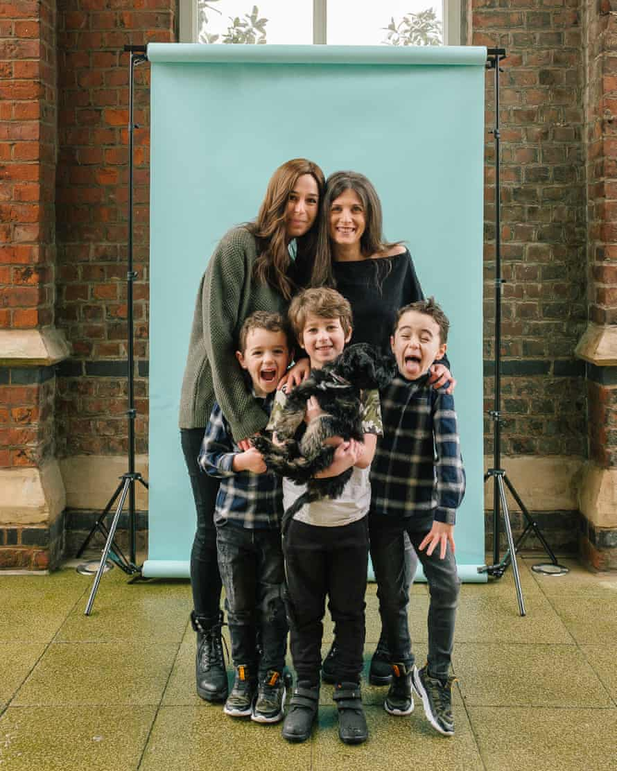Melissa Maxwell with her sons Leo and Gabriel with Bonnie Miller and her son Theo Benson, Manchester
