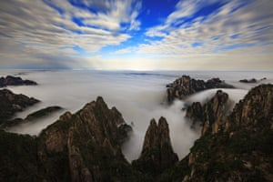 A sea of clouds is seen after rainfall at Huangshan mountain in eastern China