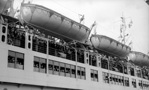 The Wilhelm Gustloff liner leaving Tilbury Docks, circa 1938.