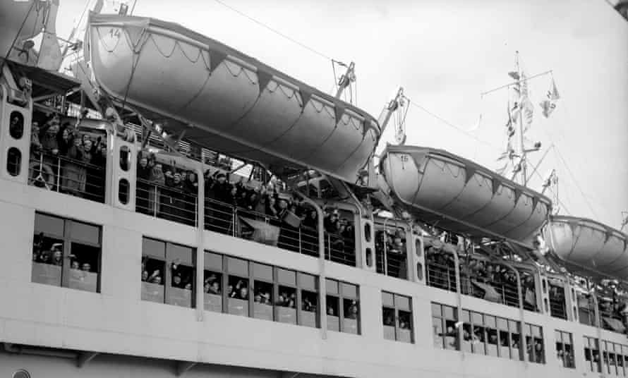 The Wilhelm Gustloff liner leaving Tilbury Docks, circa 1938.