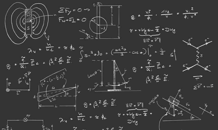 Physics diagrams and formulas on chalk board.