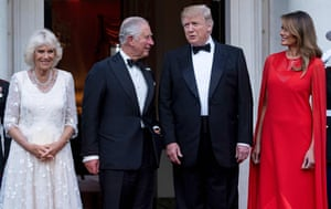 President Trump and First Lady Melania Trump greet Prince Charles and Camilla, Duchess of Cornwall, ahead of a dinner at Winfield House