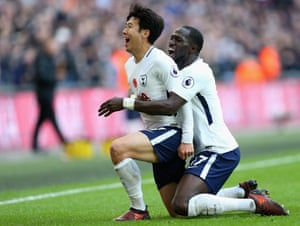 Tottenham's Heung-Min Son celebrates scoring his opening goal with Moussa Sissoko.