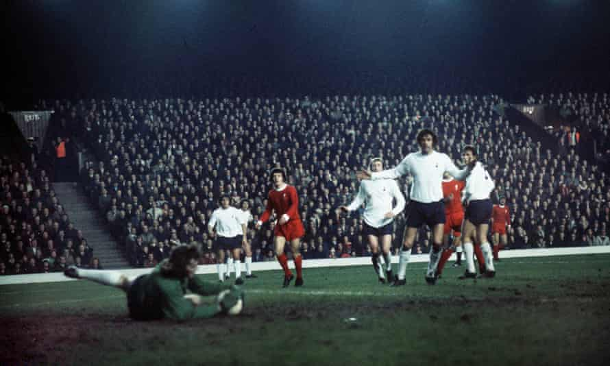 Tottenham try but fail to beat Liverpool at Anfield in December 1972.