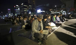 A prayer ceremony for peace near the US embassy  in Seoul, South Korea