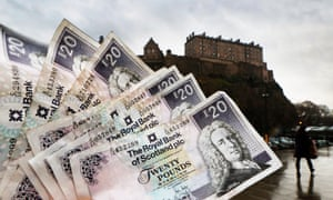 RBS twenty pound notes seen in front of Edinburgh Castle.