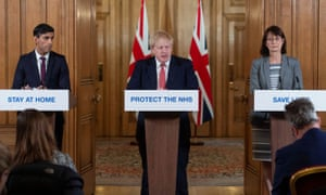 Boris Johnson holds a news conference with The chancellor, Rishi Sunak, and the deputy chief medical officer Dr Jenny Harries.