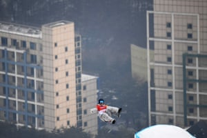 Ryan Stassel of the US competes in the qualification round for the men's snowboard slopestyle at Phoenix Park.
