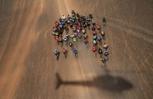 Sport, story, third prize: Franck Fife, Competitors ride during stage four of the 14th edition of Titan desert mountain biking race between Merzouga and M'ssici, in Morocco