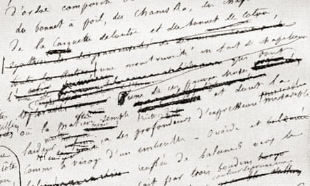 From a page from Gustave Flaubert's manuscript of Madame Bovary.