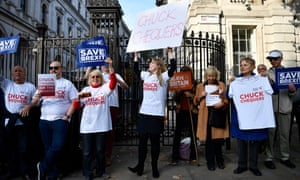 Pro-Brexit supporters demonstrate against the  chequers deal at Downing Street in London