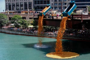 Illinois, USRubber ducks are dropped into the Chicago River to start the 14th Annual Ducky Derby. The charity event helps to raise money for Special Olympics Illinois.