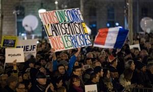 A protest in Paris against antisemitism.