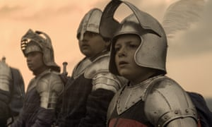 Rhianna Dorris, Dean Chaumoo and Louis Ashbourne Serkis in The Kid Who Would Be King.