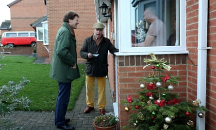 Brexit party chairman Richard Tice and leader Nigel Farage campaigning on a doorstep in Hartlepool during December 2019.