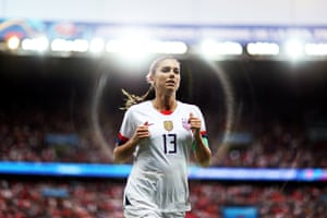 Alex Morgan of the USA runs off the pitch at half time during the quarter final between France and USA at Parc des Princes.